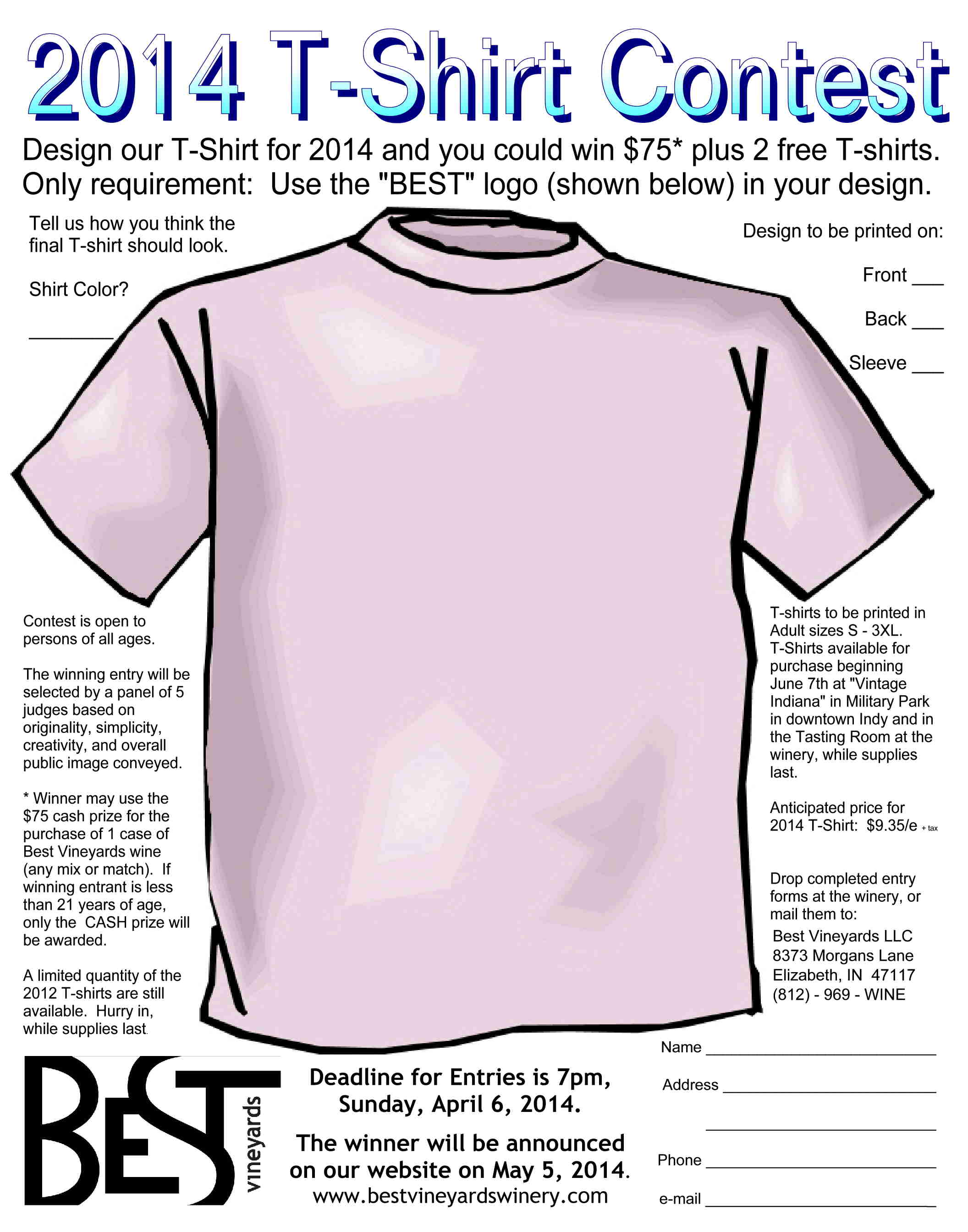 Design t shirt one direction - 2014 T Shirt Entry Form